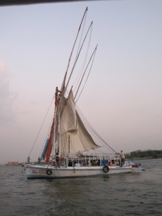 There was a celebration going on all three boats moored together, with one boat for the women.