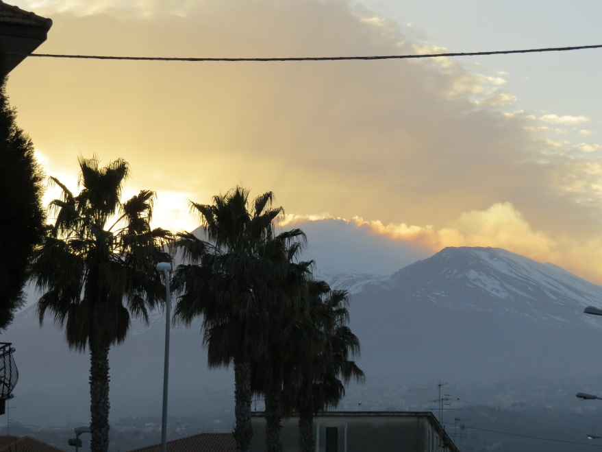 Mt Etna from Riposto, 27 miles away, at dusk.
