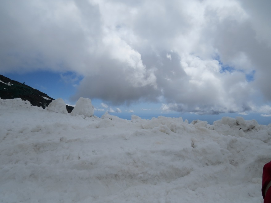 The view near the crater of skies and snow, on Mt Etna.